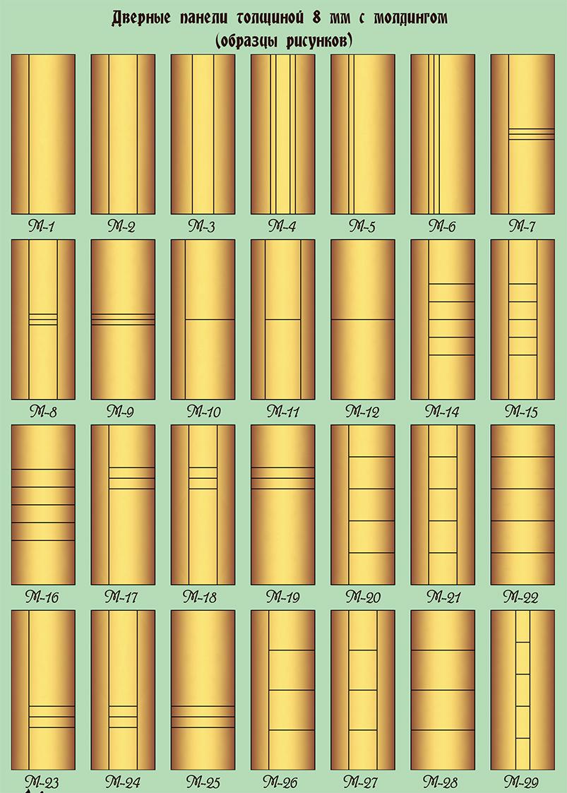 Дверные панели толщиной 8 мм с элементами молдинга (образцы рисунков)